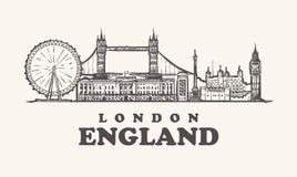 Orizzonte di Londra, illustrazione d'annata di vettore dell'Inghilterra, disegnata a mano fotografia stock libera da diritti