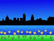 Orizzonte di Londra nella primavera illustrazione vettoriale