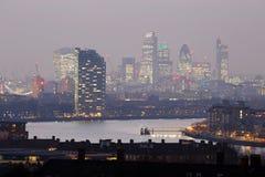 Orizzonte di Londra veduto dalla sosta di Greenwich Fotografia Stock Libera da Diritti