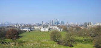 Orizzonte di Londra veduto dalla sosta di Greenwich Immagine Stock Libera da Diritti