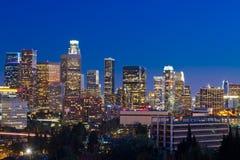 Orizzonte di Los Angeles alla notte Fotografia Stock