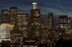 Orizzonte di Los Angeles alla notte Fotografie Stock Libere da Diritti