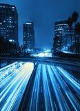 Orizzonte di Los Angeles alla notte Immagine Stock