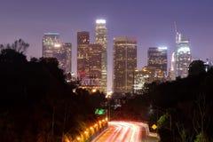 Orizzonte di Los Angeles dal parco dell'eliso fotografie stock libere da diritti