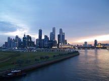 Orizzonte di lungomare di Singapore Immagini Stock Libere da Diritti