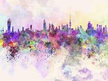 Orizzonte di Madinat al-Kuwait nel fondo dell'acquerello Fotografia Stock Libera da Diritti