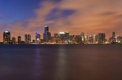 Orizzonte di Miami al tramonto Immagine Stock Libera da Diritti