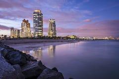 Orizzonte di Miami Beach Fotografia Stock