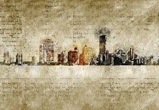 Orizzonte di Miami nello sguardo d'annata moderno ed astratto Fotografia Stock Libera da Diritti