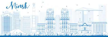 Orizzonte di Minsk del profilo con le costruzioni blu Immagine Stock