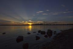 Orizzonte di Montreal al tramonto Immagini Stock