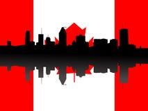 Orizzonte di Montreal con la bandierina illustrazione di stock