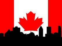 Orizzonte di Montreal con la bandierina illustrazione vettoriale