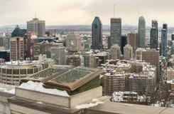Orizzonte di Montreal in inverno Immagini Stock