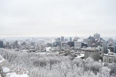 Orizzonte di Montreal in neve immagini stock