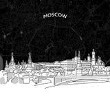 Orizzonte di Mosca con la mappa illustrazione di stock
