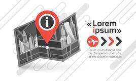 Orizzonte di navigazione del fondo di paesaggio urbano dei Gps Pin Map Over City View con lo spazio Infographic della copia Fotografia Stock