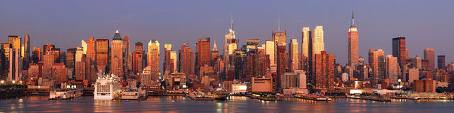 Orizzonte di New York City Manhattan Fotografie Stock
