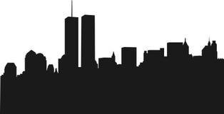 Orizzonte di New York con WTC Immagini Stock