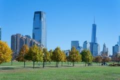 Orizzonte di New York da Liberty State Park Fotografia Stock