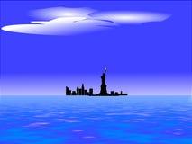 Orizzonte di New York e libertà della signora Fotografia Stock
