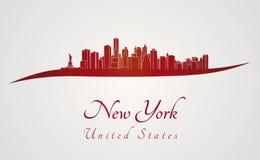 Orizzonte di New York nel rosso Immagini Stock Libere da Diritti