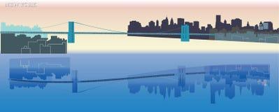 Orizzonte di New York - paesaggio urbano - grandi costruzioni - riflessione dell'acqua - ponte - Immagine Stock