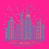 Orizzonte di New York, progettazione del profilo, illustrazione Fotografia Stock Libera da Diritti