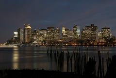 Orizzonte di notte di Boston Immagini Stock