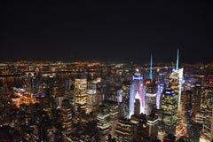 Orizzonte di notte di New York dallo stato dell'impero Fotografia Stock Libera da Diritti