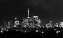 Orizzonte di notte di Toronto in bianco e nero Fotografia Stock