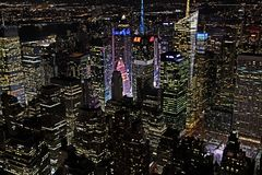 Orizzonte di notte di New York Immagini Stock Libere da Diritti