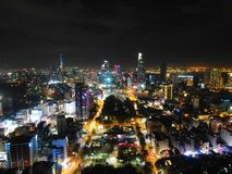Orizzonte di notte di Saigon fotografie stock