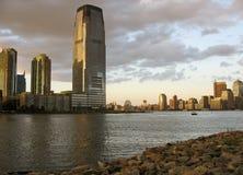 Orizzonte di NYC dalla città di Jersey Immagini Stock Libere da Diritti