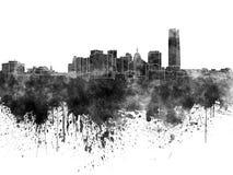 Orizzonte di Oklahoma City in acquerello nero Fotografie Stock