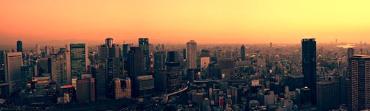 Orizzonte di Osaka al tramonto Immagini Stock