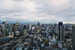 Orizzonte di Osaka, Giappone immagini stock libere da diritti