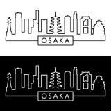 Orizzonte di Osaka stile lineare fotografie stock libere da diritti