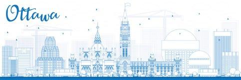 Orizzonte di Ottawa del profilo con le costruzioni blu illustrazione di stock