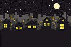Orizzonte di paesaggio urbano alla notte illustrazione vettoriale