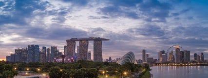 Orizzonte di panorama di Singapore Fotografie Stock Libere da Diritti