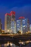 Orizzonte di Pechino CBD, vista di notte Fotografia Stock Libera da Diritti