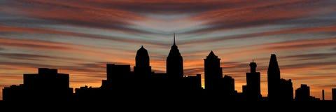 Orizzonte di Philadelphia al tramonto Fotografia Stock Libera da Diritti