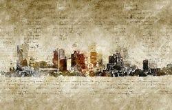 Orizzonte di Phoenix nello sguardo d'annata moderno ed astratto Fotografie Stock