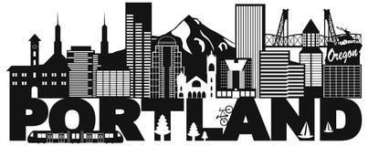 Orizzonte di Portland Oregon ed illustrazione in bianco e nero del testo Fotografia Stock Libera da Diritti