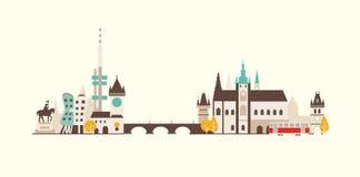Orizzonte di Praga illustrazione di stock