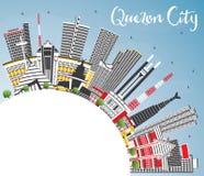 Orizzonte di Quezon City Filippine con Gray Buildings, cielo blu Immagine Stock Libera da Diritti
