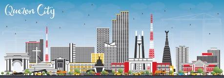 Orizzonte di Quezon City Filippine con Gray Buildings e cielo blu Fotografie Stock