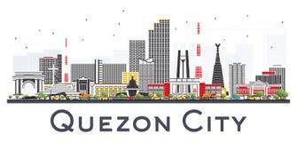 Orizzonte di Quezon City Filippine con Gray Buildings Isolated sopra Fotografie Stock Libere da Diritti
