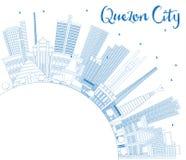 Orizzonte di Quezon City Filippine del profilo con le costruzioni blu e Fotografia Stock Libera da Diritti